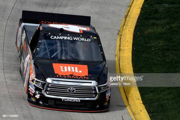 Christopher Bell driver of the JBL Toyota practices for the NASCAR Camping World Truck Series Alpha Energy Solutions 250 at Martinsville Speedway on...