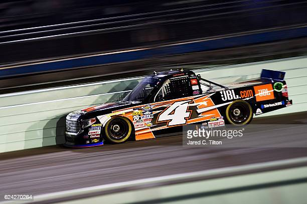 Christopher Bell driver of the JBL Toyota races during the NASCAR Camping World Truck Series Ford EcoBoost 200 at HomesteadMiami Speedway on November...