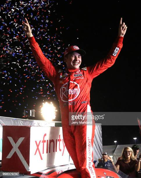 Christopher Bell driver of the Rheem Toyota celbrates in Victory Lane after winning during the NASCAR Xfinity Series Alsco 300 at Kentucky Speedway...