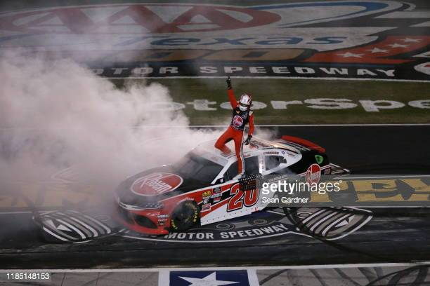 Christopher Bell driver of the Rheem Toyota celebrates after winnig the NASCAR Xfinity Series O'Reilly Auto Parts 300 at Texas Motor Speedway on...