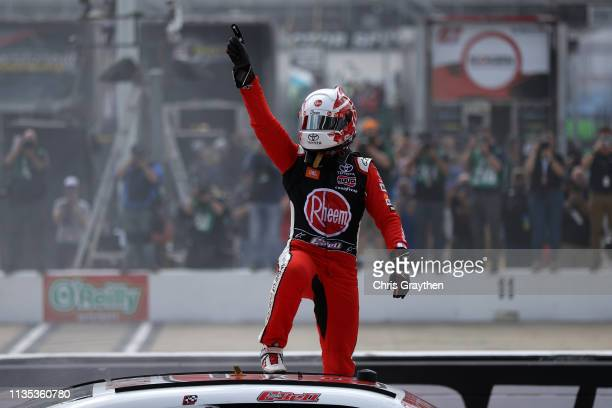 Christopher Bell driver of the Rheem Toyota celebrates after winning the NASCAR Xfinity Series Alsco 300 at Bristol Motor Speedway on April 6 2019 in...