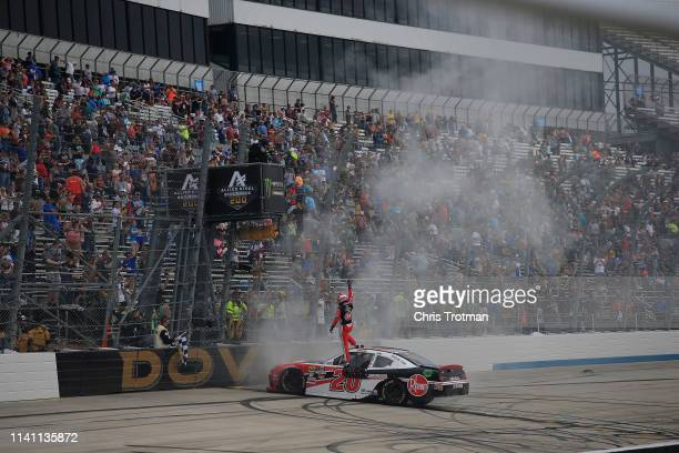 Christopher Bell driver of the Rheem Toyota celebrates after winning the NASCAR Xfinity Series Allied Steel Buildings 200 at Dover International...