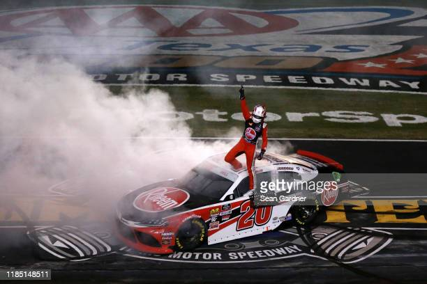 Christopher Bell driver of the Rheem Toyota celebrates after winning the NASCAR Xfinity Series O'Reilly Auto Parts 300 at Texas Motor Speedway on...