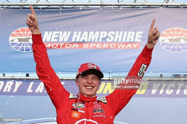 Christopher Bell driver of the Rheem Toyota celebrates in Victory Lane after winning the NASCAR Xfinity Series Lakes Region 200 at New Hampshire...