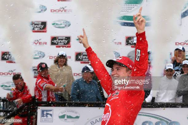 Christopher Bell driver of the Rheem Toyota celebrates in Victory Lane after winning the NASCAR Xfinity Series Bar Harbor 200 presented by Sea Watch...
