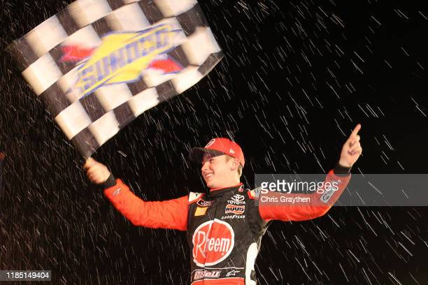 Christopher Bell driver of the Rheem Toyota celebrates in Victory Lane after winning the NASCAR Xfinity Series O'Reilly Auto Parts 300 at Texas Motor...