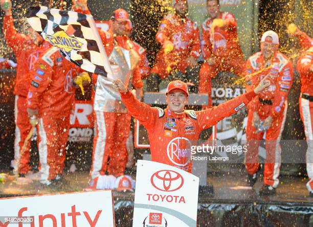 Christopher Bell driver of the Rheem Toyota celebrates in victory lane after winning the NASCAR Xfinity Series ToyotaCare 250 at Richmond Raceway on...