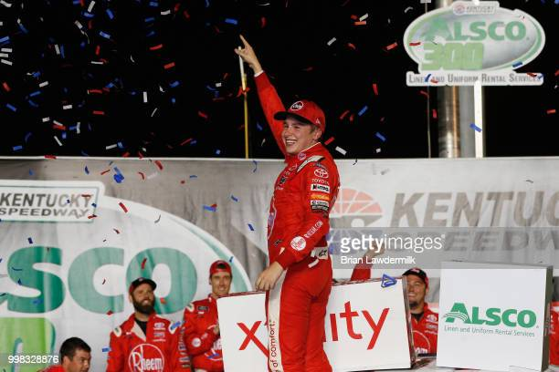 Christopher Bell driver of the Rheem Toyota celebrates in Victory Lane after winning the NASCAR Xfinity Series Alsco 300 at Kentucky Speedway on July...