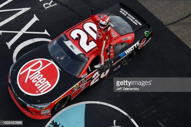 Christopher Bell driver of the Rheem Toyota celebrates winning the NASCAR Xfinity Series Lakes Region 200 at New Hampshire Motor Speedway on July 21...