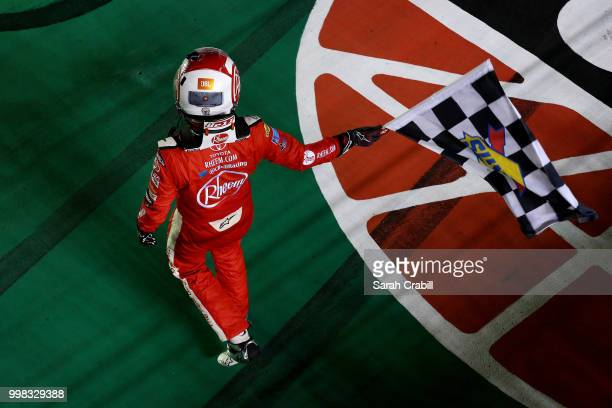 Christopher Bell driver of the Rheem Toyota celebrates winning the NASCAR Xfinity Series Alsco 300 at Kentucky Speedway on July 13 2018 in Sparta...
