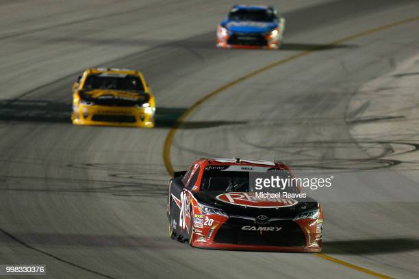 Christopher Bell driver of the Rheem Toyota leads Daniel Hemric driver of the South Point Hotel Casino Chevrolet during the NASCAR Xfinity Series...