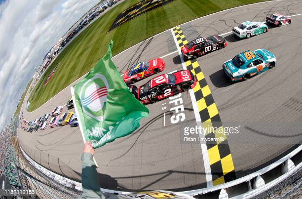 Christopher Bell, driver of the Rheem Toyota, leads the field across the start/finsh line as the green flag waves during the NASCAR Xfinity Series...