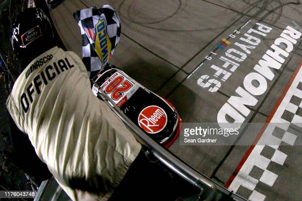 Christopher Bell driver of the Rheem Toyota takes the checkered flag to win the NASCAR Xfinity Series GoBowling 250 at Richmond Raceway on September...