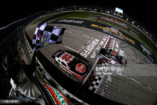 Christopher Bell, driver of the Rheem Toyota, takes the checkered flag to win the NASCAR Xfinity Series O'Reilly Auto Parts 300 at Texas Motor...