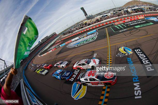 Christopher Bell, driver of the Rheem Toyota, takes the green flag to start the NASCAR Xfinity Series Desert Diamond Casino West Valley 200 at ISM...