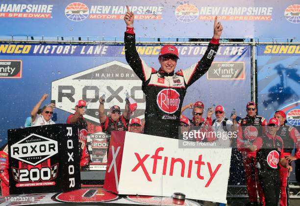 Christopher Bell driver of the RheemWatts Toyota celebrates in Victory Lane after winning the NASCAR Xfinity Series ROXOR 200 at New Hampshire Motor...