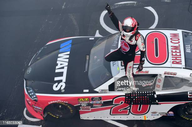 Christopher Bell driver of the RheemWatts Toyota celebrates winning the NASCAR Xfinity Series ROXOR 200 at New Hampshire Motor Speedway on July 20...