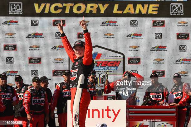 Christopher Bell driver of the Rudd Toyota celebrates in Victory Lane after winning the NASCAR Xfinity Series CTECH Manufacturing 180 at Road America...