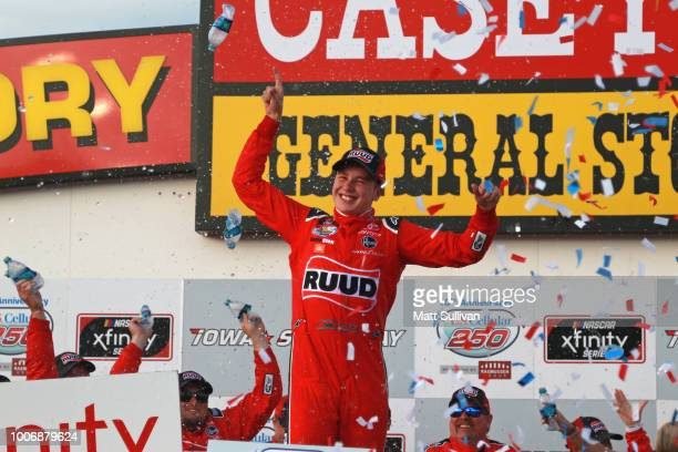 Christopher Bell driver of the Ruud Toyota celebrates in Victory Lane after winning the NASCAR Xfinity Series US Cellular 250 presented by The...