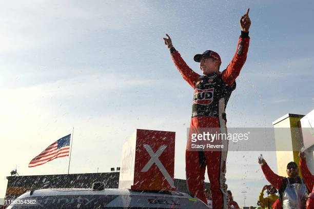 Christopher Bell, driver of the Ruud Toyota, celebrates in Victory Lane after winning the NASCAR Xfinity Series CircuitCity.com 250 Presented by...