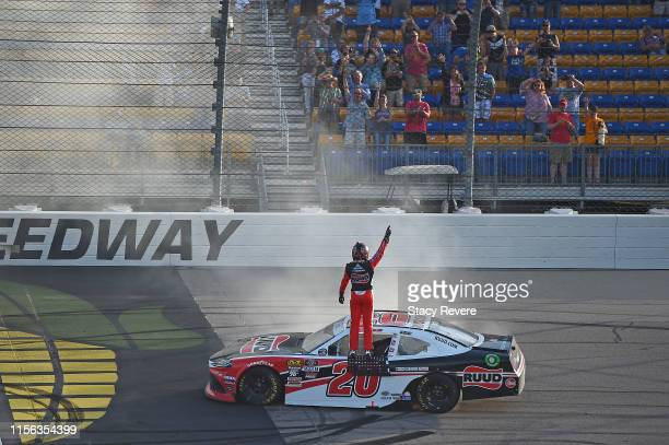 Christopher Bell driver of the Ruud Toyota celebrates with a burnout after winning the NASCAR Xfinity Series CircuitCitycom 250 Presented by Tamron...