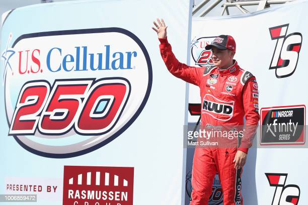 Christopher Bell driver of the Ruud Toyota is introduced before the start of the NASCAR Xfinity Series US Cellular 250 presented by The Rasmussen...