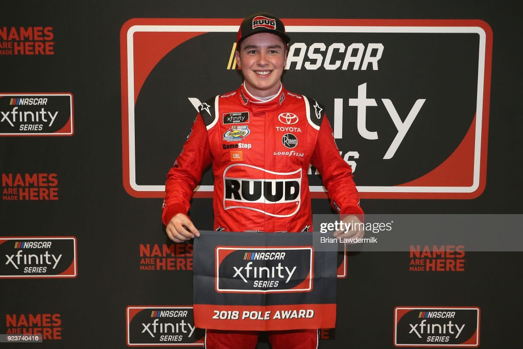 Christopher Bell, driver of the #20 Ruud Toyota, poses with the Pole Award after qualifying for the pole position for the NASCAR Xfinity Series Rinnai 250 at Atlanta Motor Speedway on February 24, 2018 in Hampton, Georgia.