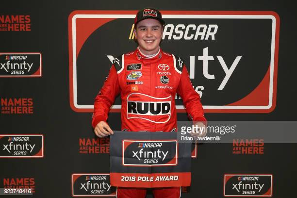 Christopher Bell driver of the Ruud Toyota poses with the Pole Award after qualifying for the pole position for the NASCAR Xfinity Series Rinnai 250...