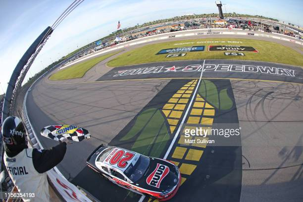 Christopher Bell driver of the Ruud Toyota takes the checkered flag to win the NASCAR Xfinity Series CircuitCitycom 250 Presented by Tamron at Iowa...