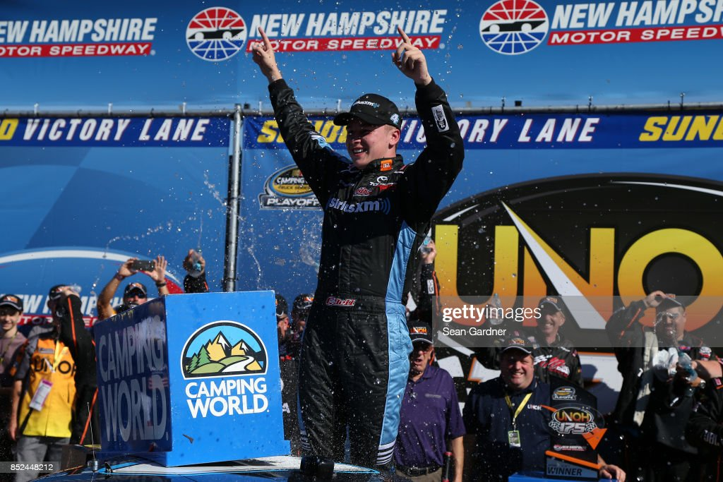 Christopher Bell, driver of the #4 SiriusXM Toyota, celebrates in Victory Lane after winning the NASCAR Camping World Truck Series UNOH 175 at New Hampshire Motor Speedway on September 23, 2017 in Loudon, New Hampshire.
