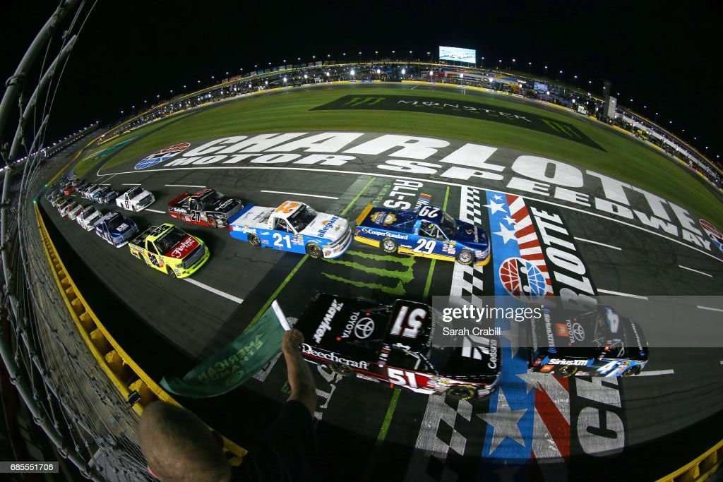 Christopher Bell, driver of the #4 SiriusXM Toyota, takes the green flag to start the Camping World Truck Series North Carolina Education Lottery 200 at Charlotte Motor Speedway on May 19, 2017 in Charlotte, North Carolina.