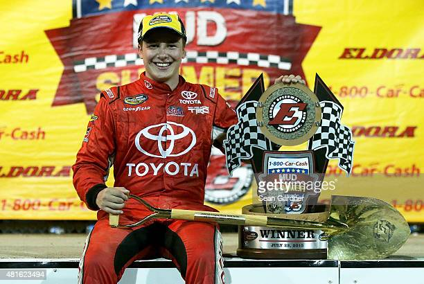 Christopher Bell driver of the Toyota Certified Used Vehicles Toyota celebrates after winning the NASCAR Camping World Truck Series 1800CARCASH Mud...