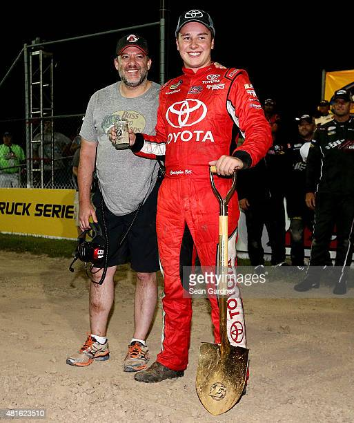 Christopher Bell driver of the Toyota Certified Used Vehicles Toyota celebrates with Eldora track owner Tony Stewart after winning the NASCAR Camping...