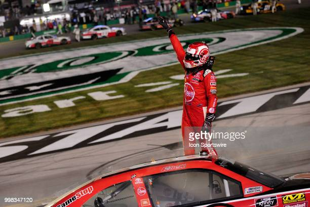Christopher Bell Joe Gibbs Racing Toyota Camry celebrates on the front stretch after winning the NASCAR Xfinity Series Alsco 300 on July 13th at...