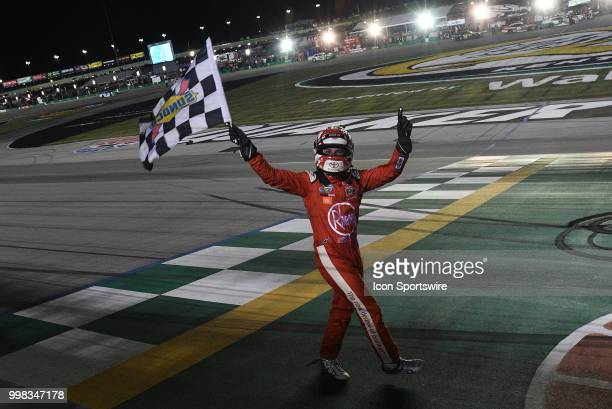 Christopher Bell Joe Gibbs Racing Toyota Camry grabs the checkered flag after winning the NASCAR Xfinity Series Alsco 300 on July 13th at Kentucky...