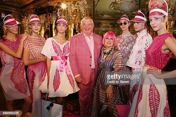 Christopher Biggins and Zandra Rhodes attend the Zandra Rhodes presentation during London Fashion Week Spring/Summer 2016 at Hotel Cafe Royal on...