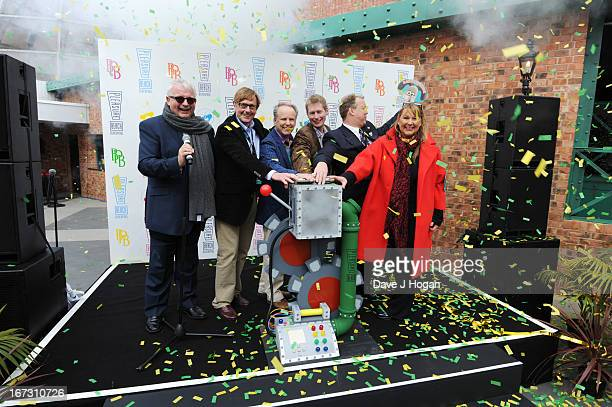 Christopher Biggins Nick Farmer Nick Park Merlin Crossingham Nick Thompson and Amanda Thompson pose as they open the worlds first Wallace Gromit Ride...