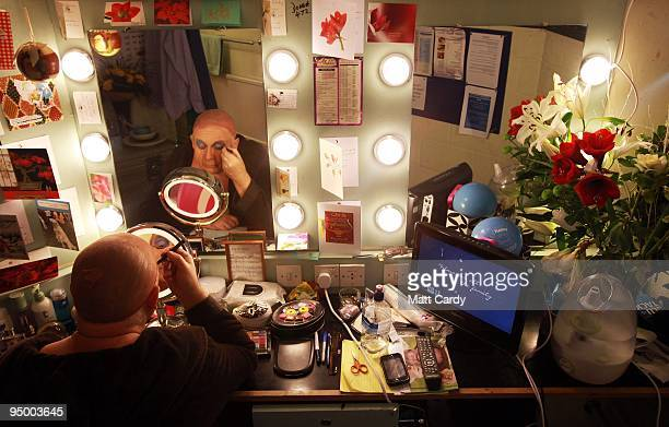 Christopher Biggins prepares for his role as panto dame Widow Twankey at the Theatre Royal Plymouth's production of Aladdin on December 22, 2009 in...