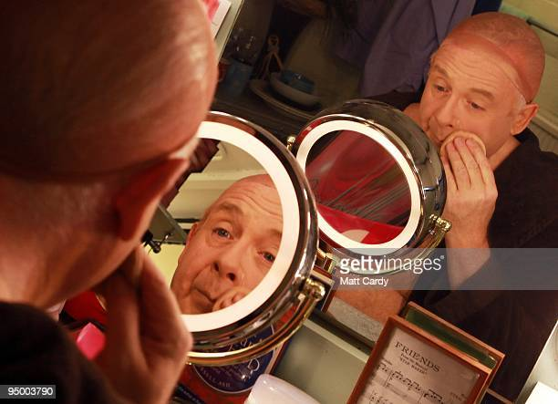 Christopher Biggins prepares for his role as panto dame Widow Twankey in the Theatre Royal Plymouth's production of Aladdin on December 22, 2009 in...