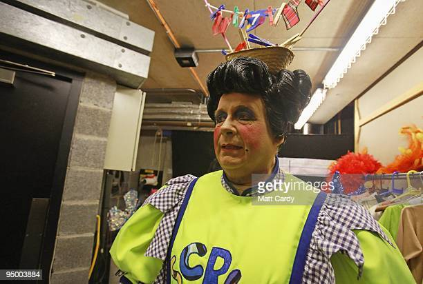 Christopher Biggins prepares for his role as panto dame Widow Twankey int the Theatre Royal Plymouth's production of Aladdin on December 22, 2009 in...