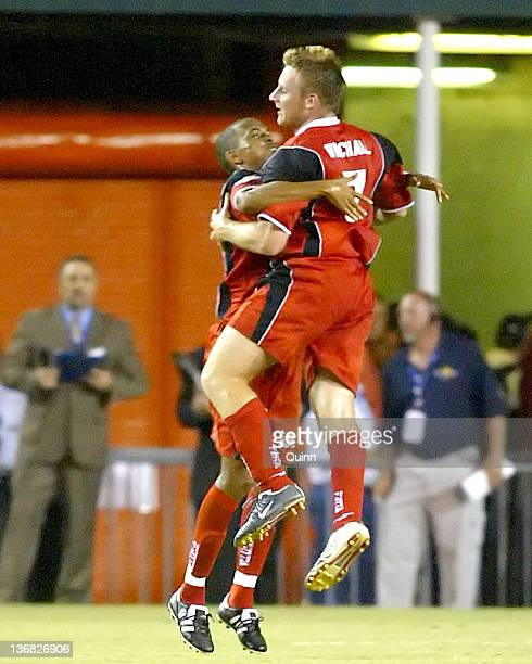 Christopher Birchell celebrates his goal for Trinidad during a match at the Orange Bowl Miami Florida July 7 2005 The game ended in a 11 tie
