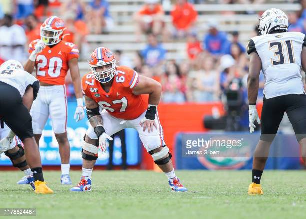 Christopher Bleich of the Florida Gators looks on during the third quarter of a game against the Towson Tigers at Ben Hill Griffin Stadium on...