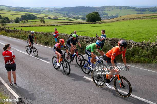 Christopher Blevins of United States and Team Trinity Racing, Daniel Bigham of United Kingdom and Team Ribble Weldtite Pro Cycling, Leon Mazzone of...