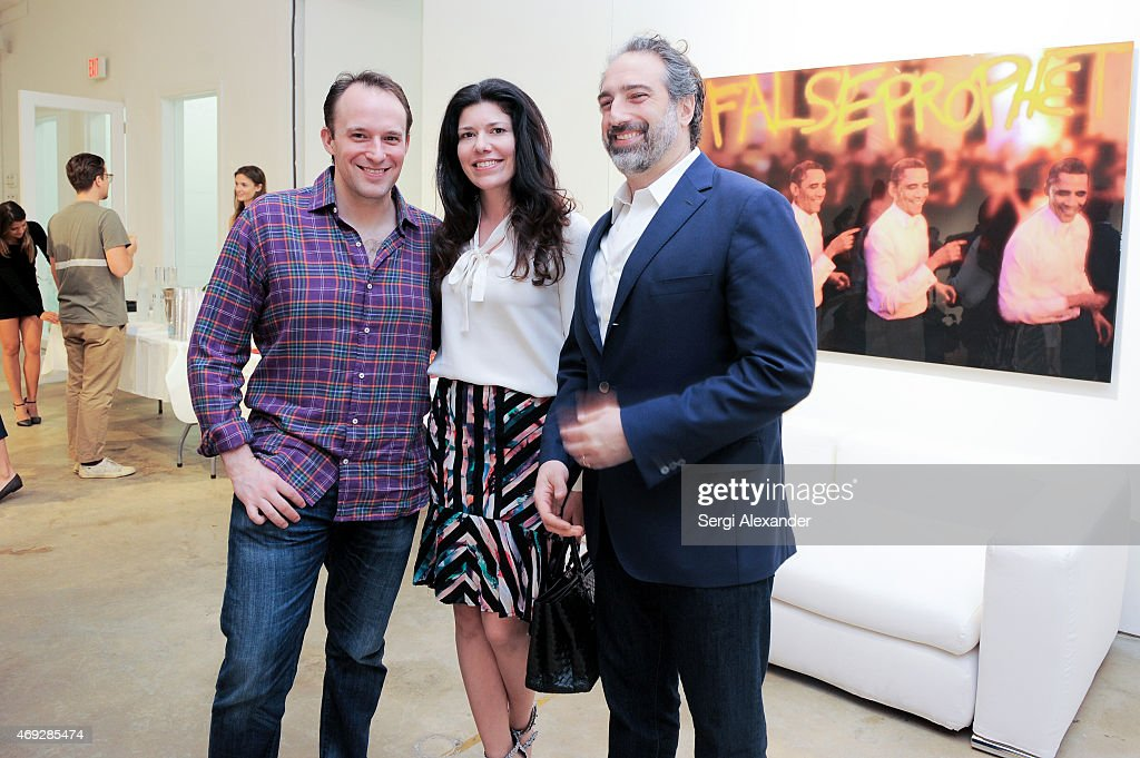 Christopher Blum, Sheila Blum and Adam Greenberger attend Andrew Levitas Metalwork Playground opening reception at Blueshift Wynwood on April 10, 2015 in Miami, Florida.