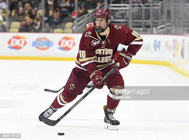 Christopher Brown of the Boston College Eagles skates with the puck in the third period during the consolation game of the Three Rivers Classic...