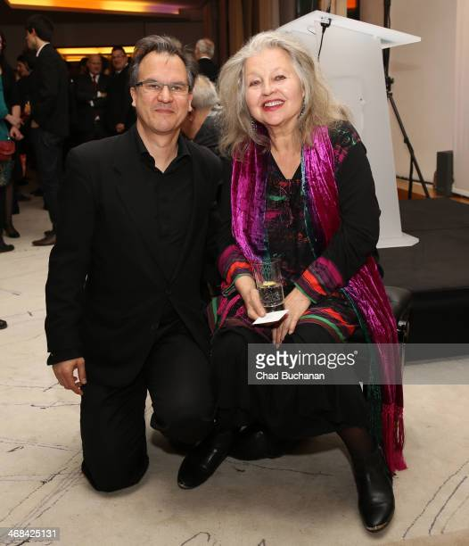 Christopher Buchholz and Hanna Schygulla attend the 'Soiree Francaise Du Cinema' during 64th Berlinale International Film Festival at French Embassy...