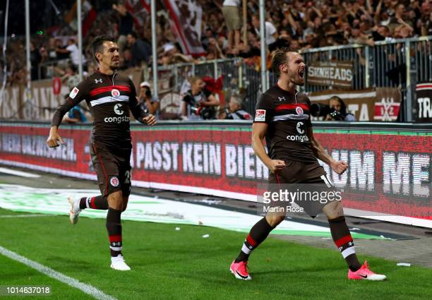 Christopher Buchtmann of St Pauli celebrates after he scores the 2nd goal during the Second Bundesliga match between FC St Pauli and SV Darmstadt 98...
