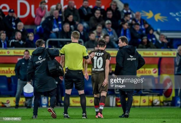 Christopher Buchtmann of St Pauli injured during the Second Bundesliga match between MSV Duisburg and FC St Pauli at SchauinslandReisenArena on...