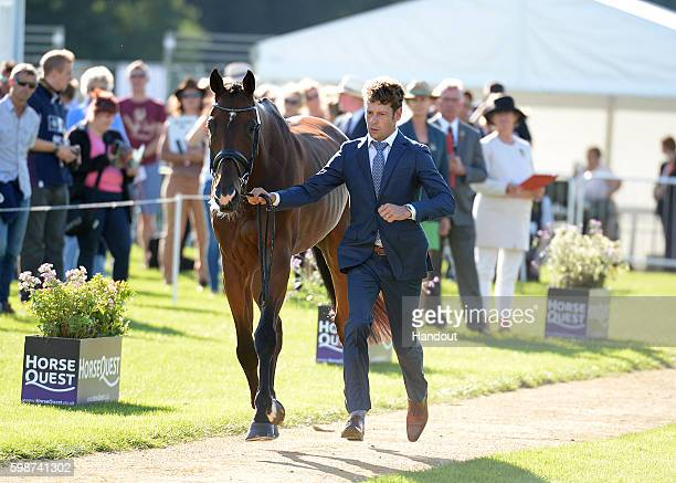 Christopher Burton of Australia and Nobilis 18 during a horse inspection at The Land Rover Burghley Horse Trials 2016 on September 3 2015 in Stamford...