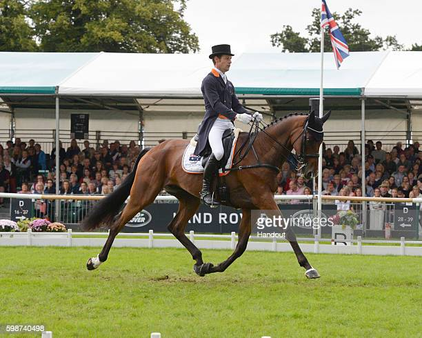 Christopher Burton of Australia and Nobilis 18 sitting in first after the first dressing at The Land Rover Burghley Horse Trials 2016 on September 3...
